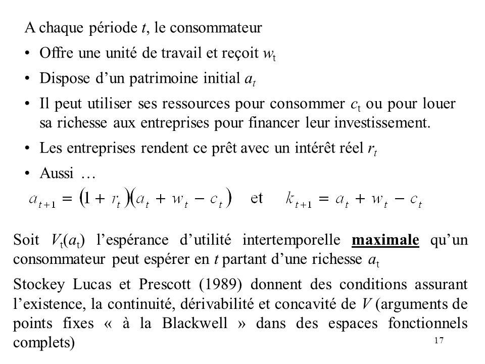 17 Soit V t (a t ) lespérance dutilité intertemporelle maximale quun consommateur peut espérer en t partant dune richesse a t Stockey Lucas et Prescot