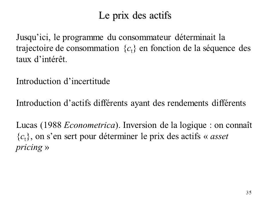 35 Le prix des actifs Jusquici, le programme du consommateur déterminait la trajectoire de consommation {c t } en fonction de la séquence des taux din