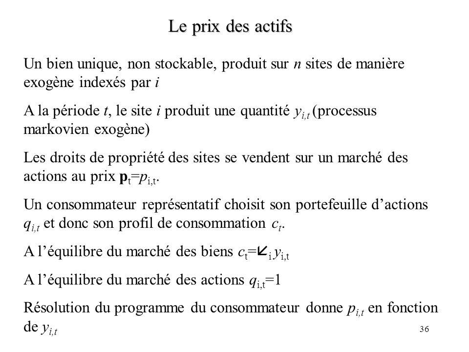 36 Le prix des actifs Un bien unique, non stockable, produit sur n sites de manière exogène indexés par i A la période t, le site i produit une quanti