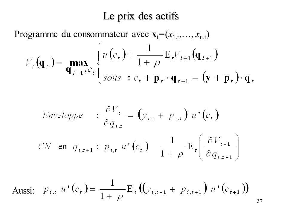 37 Le prix des actifs Programme du consommateur avec x t =(x 1,t,…, x n,t ) Aussi:
