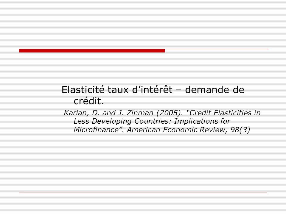 Elasticité taux dintérêt – demande de crédit. Karlan, D. and J. Zinman (2005). Credit Elasticities in Less Developing Countries: Implications for Micr
