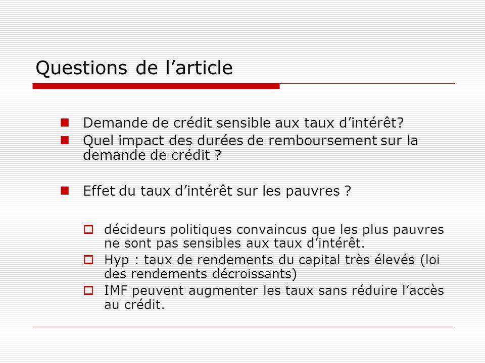 Questions de larticle Demande de crédit sensible aux taux dintérêt? Quel impact des durées de remboursement sur la demande de crédit ? Effet du taux d