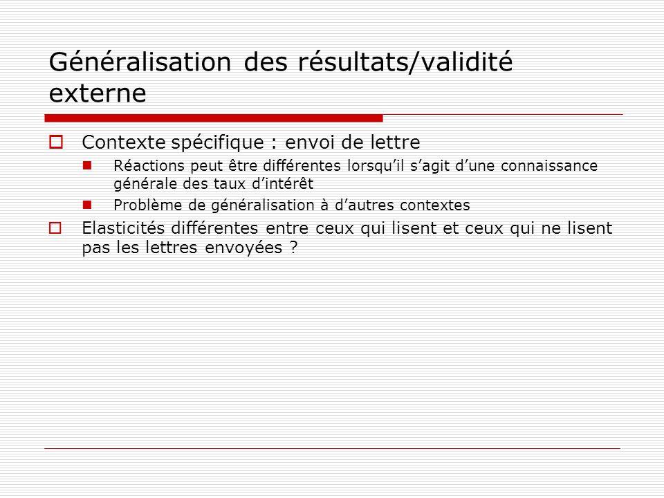 Généralisation des résultats/validité externe Contexte spécifique : envoi de lettre Réactions peut être différentes lorsquil sagit dune connaissance g