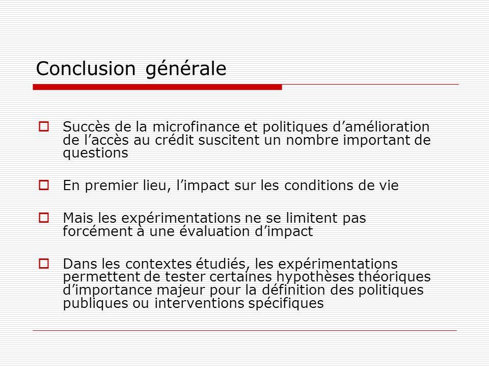 Conclusion générale Succès de la microfinance et politiques damélioration de laccès au crédit suscitent un nombre important de questions En premier li