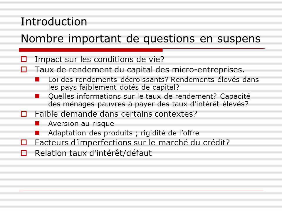 Introduction Nombre important de questions en suspens Impact sur les conditions de vie? Taux de rendement du capital des micro-entreprises. Loi des re