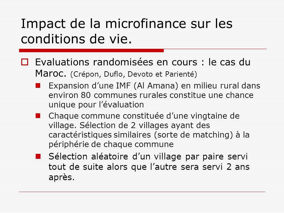 Impact de la microfinance sur les conditions de vie. Evaluations randomisées en cours : le cas du Maroc. (Crépon, Duflo, Devoto et Parienté) Expansion