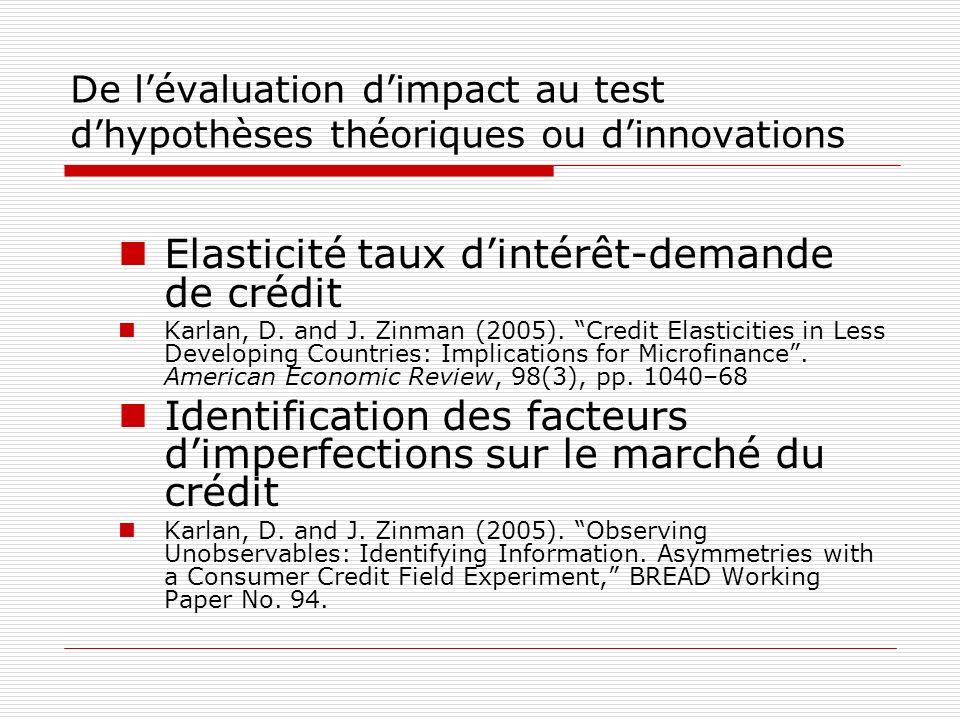 De lévaluation dimpact au test dhypothèses théoriques ou dinnovations Elasticité taux dintérêt-demande de crédit Karlan, D. and J. Zinman (2005). Cred