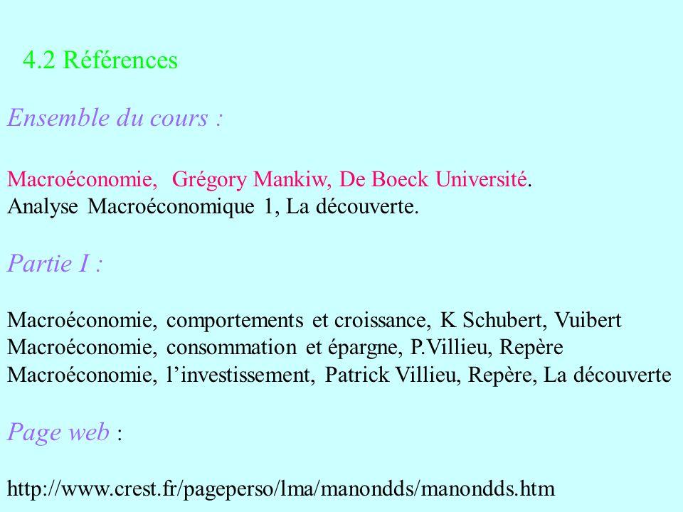 Ensemble du cours : Macroéconomie, Grégory Mankiw, De Boeck Université. Analyse Macroéconomique 1, La découverte. Partie I : Macroéconomie, comporteme