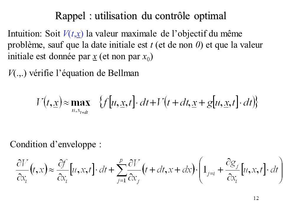 12 Rappel : utilisation du contrôle optimal Intuition: Soit V(t,x) la valeur maximale de lobjectif du même problème, sauf que la date initiale est t (et de non 0) et que la valeur initiale est donnée par x (et non par x 0 ) V(.,.) vérifie léquation de Bellman Condition denveloppe :
