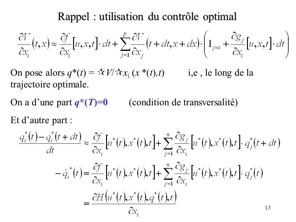 12 Rappel : utilisation du contrôle optimal Intuition: Soit V(t,x) la valeur maximale de lobjectif du même problème, sauf que la date initiale est t (