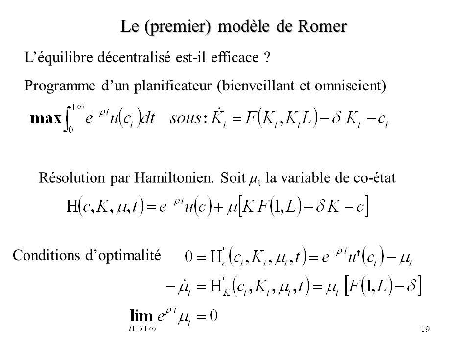 18 Le (premier) modèle de Romer La dynamique du modèle est résumée par Tout dépend en fait c t /K t dont la dynamique est : Variable indéterminée, pré
