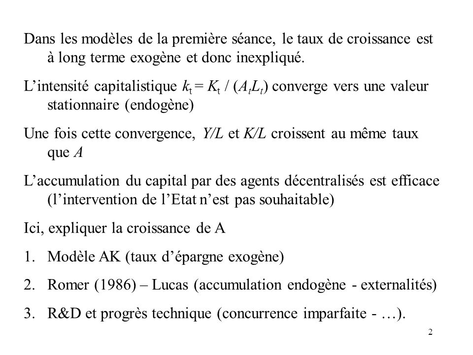 1 Amphithéâtre 2 La croissance endogène Etienne LEHMANN Professeurs des Universités CREST – Laboratoire de Macroéconomie etienne.lehmann@ensae.fr http