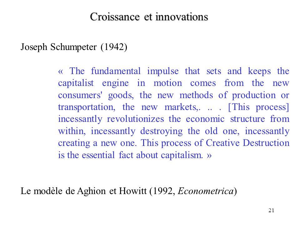 20 Le (premier) modèle de Romer La seule différence entre les équations décrivant léquilibre et celles décrivant loptimum social concerne le rendement
