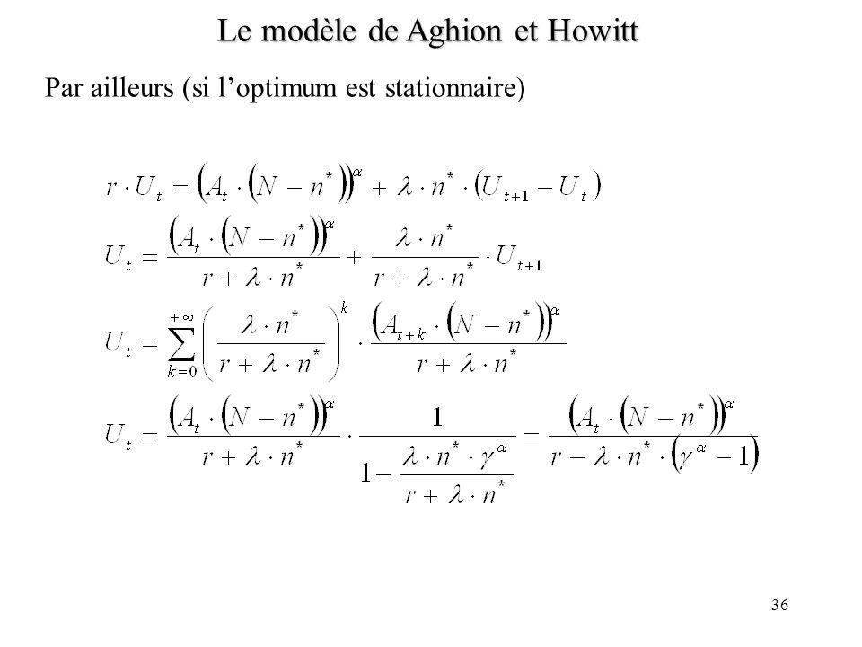 35 Le modèle de Aghion et Howitt Optimum : un planificateur bienveillant et omniscient choisit la répartition des travailleurs entre secteur de la rec