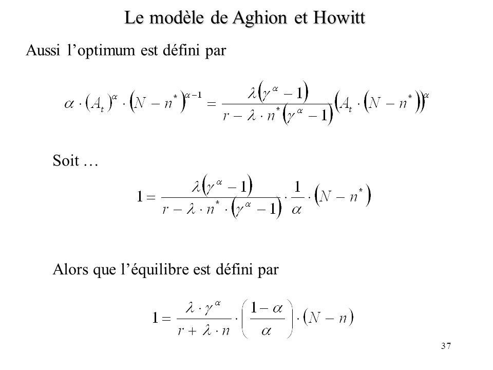 36 Le modèle de Aghion et Howitt Par ailleurs (si loptimum est stationnaire)