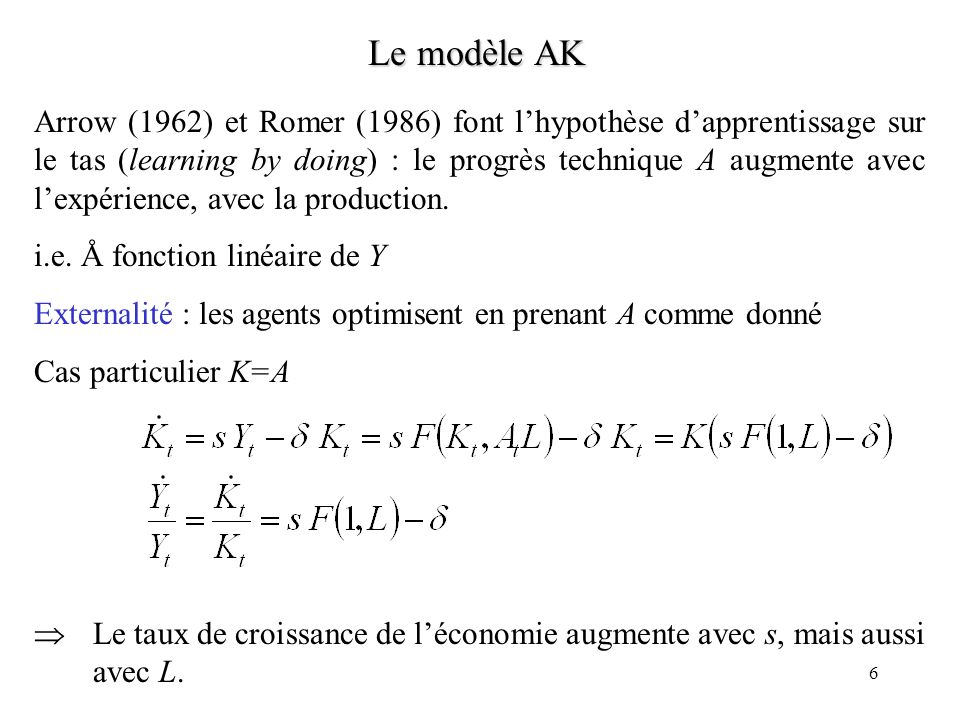 6 Le modèle AK Arrow (1962) et Romer (1986) font lhypothèse dapprentissage sur le tas (learning by doing) : le progrès technique A augmente avec lexpérience, avec la production.