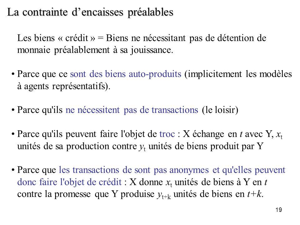 19 La contrainte dencaisses préalables Les biens « crédit » = Biens ne nécessitant pas de détention de monnaie préalablement à sa jouissance. Parce qu