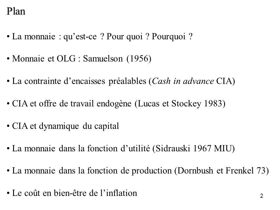 2 Plan La monnaie : quest-ce ? Pour quoi ? Pourquoi ? Monnaie et OLG : Samuelson (1956) La contrainte dencaisses préalables (Cash in advance CIA) CIA