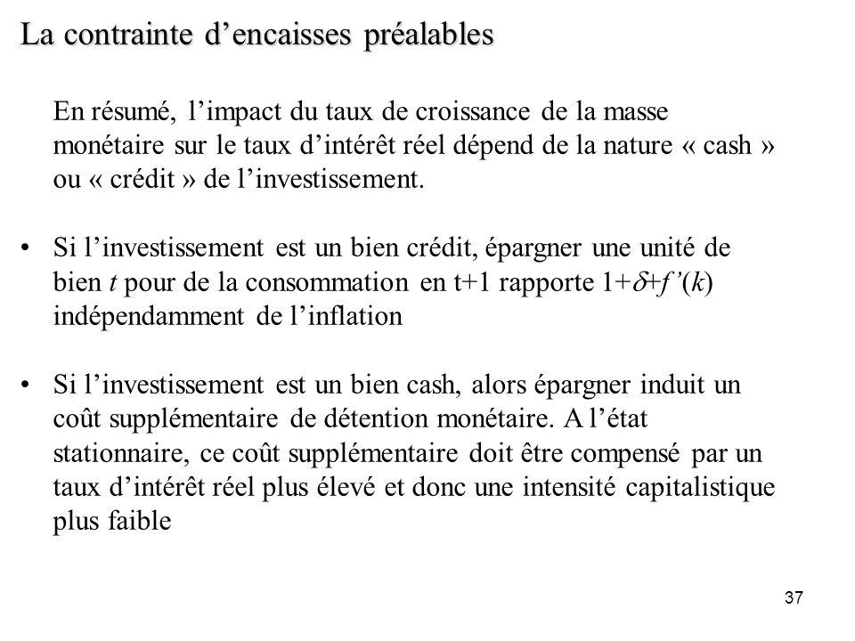 37 La contrainte dencaisses préalables En résumé, limpact du taux de croissance de la masse monétaire sur le taux dintérêt réel dépend de la nature «