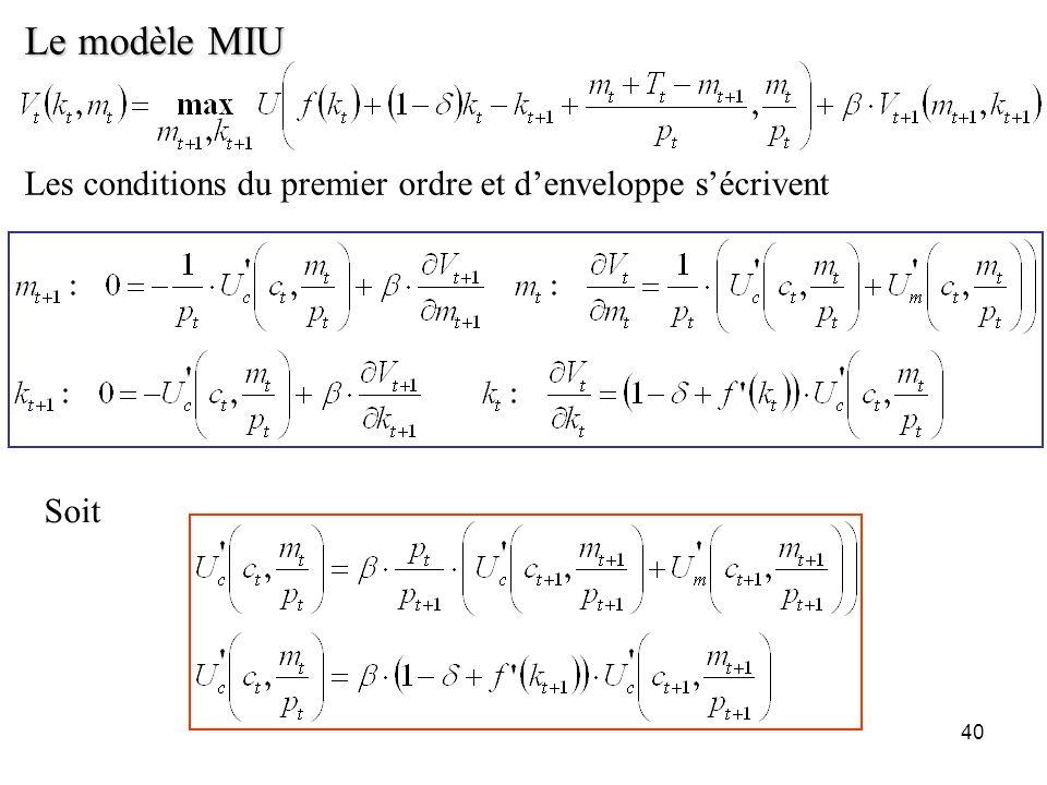 40 Le modèle MIU Les conditions du premier ordre et denveloppe sécrivent Soit