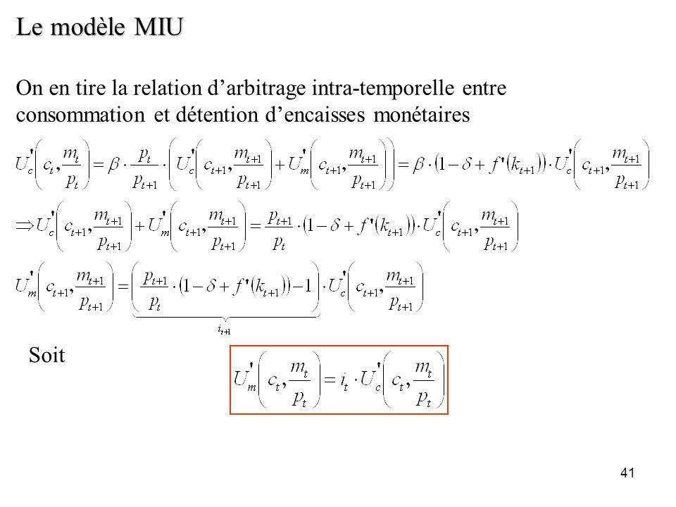41 Le modèle MIU On en tire la relation darbitrage intra-temporelle entre consommation et détention dencaisses monétaires Soit