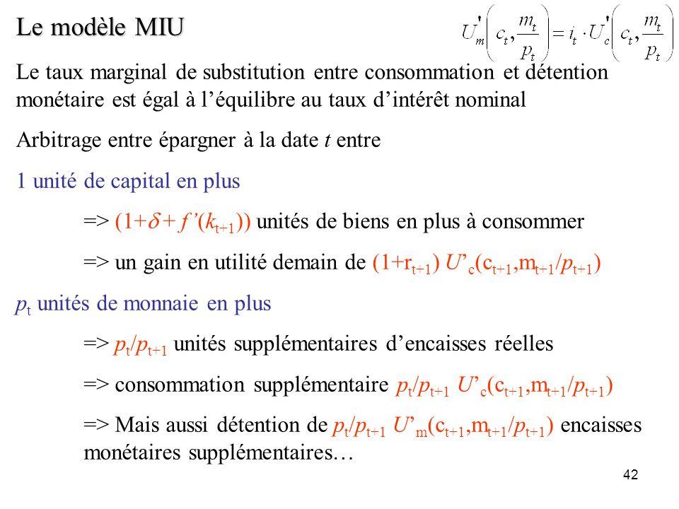42 Le modèle MIU Le taux marginal de substitution entre consommation et détention monétaire est égal à léquilibre au taux dintérêt nominal Arbitrage e