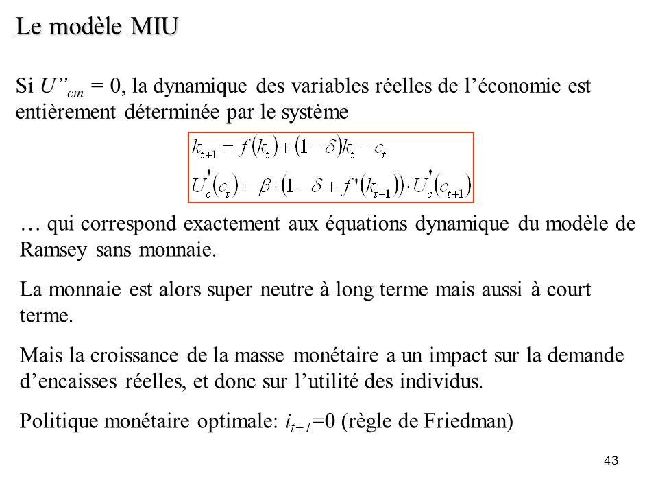 43 Le modèle MIU Si U cm = 0, la dynamique des variables réelles de léconomie est entièrement déterminée par le système … qui correspond exactement au