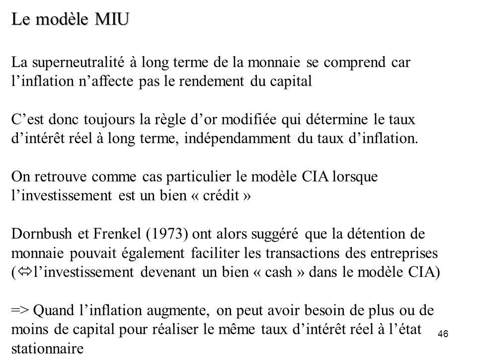 46 Le modèle MIU La superneutralité à long terme de la monnaie se comprend car linflation naffecte pas le rendement du capital Cest donc toujours la r