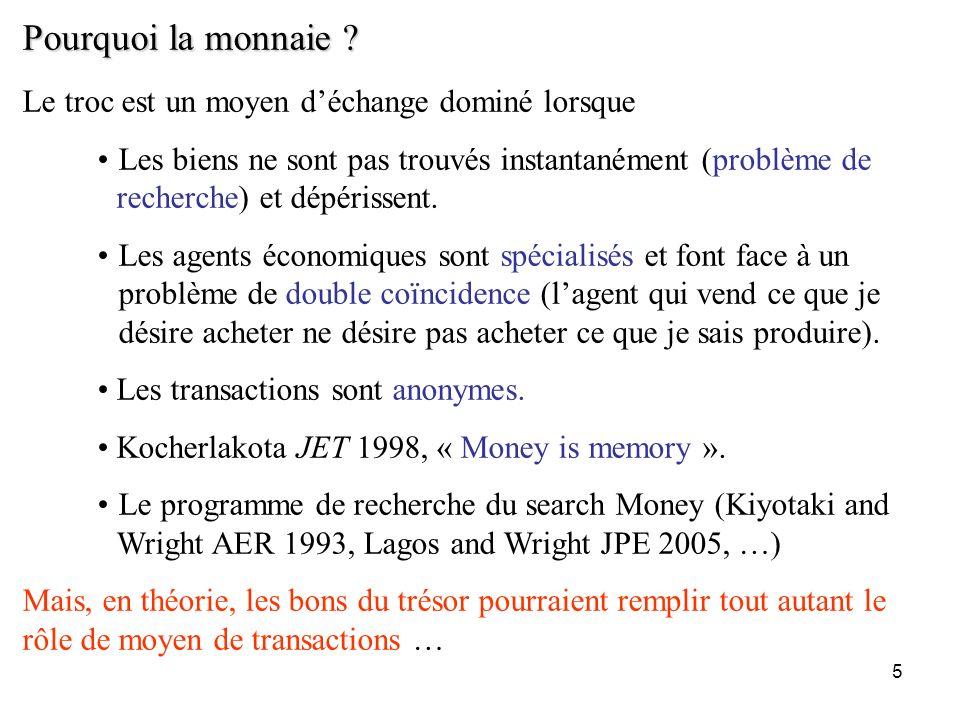 5 Pourquoi la monnaie ? Le troc est un moyen déchange dominé lorsque Les biens ne sont pas trouvés instantanément (problème de recherche) et dépérisse