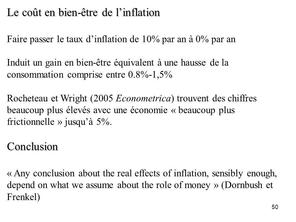 50 Le coût en bien-être de linflation Faire passer le taux dinflation de 10% par an à 0% par an Induit un gain en bien-être équivalent à une hausse de