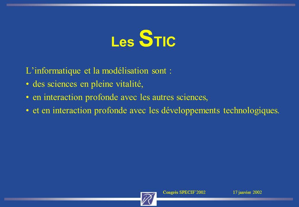 Congrès SPECIF2002 17 janvier 2002 Linformatique et la modélisation sont : des sciences en pleine vitalité, en interaction profonde avec les autres sc
