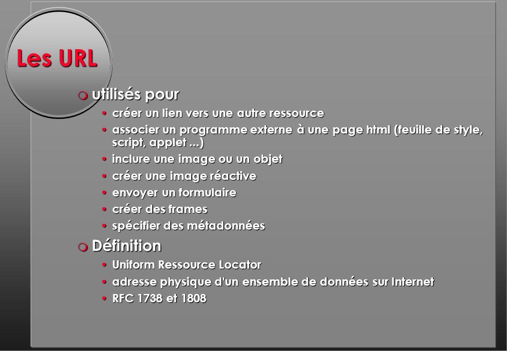 Les URL m utilisés pour créer un lien vers une autre ressource créer un lien vers une autre ressource associer un programme externe à une page html (feuille de style, script, applet...) associer un programme externe à une page html (feuille de style, script, applet...) inclure une image ou un objet inclure une image ou un objet créer une image réactive créer une image réactive envoyer un formulaire envoyer un formulaire créer des frames créer des frames spécifier des métadonnées spécifier des métadonnées m Définition Uniform Ressource Locator Uniform Ressource Locator adresse physique d un ensemble de données sur Internet adresse physique d un ensemble de données sur Internet RFC 1738 et 1808 RFC 1738 et 1808
