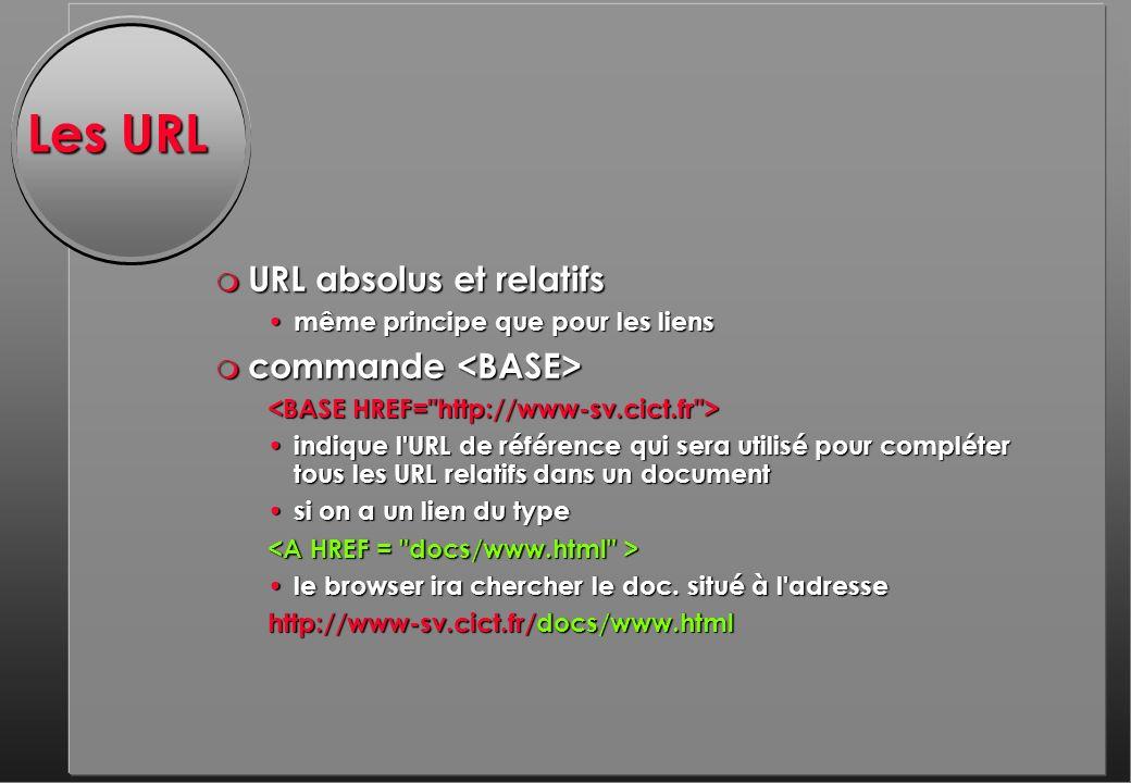 Les URL m URL absolus et relatifs même principe que pour les liens même principe que pour les liens m commande m commande indique l URL de référence qui sera utilisé pour compléter tous les URL relatifs dans un document indique l URL de référence qui sera utilisé pour compléter tous les URL relatifs dans un document si on a un lien du type si on a un lien du type le browser ira chercher le doc.