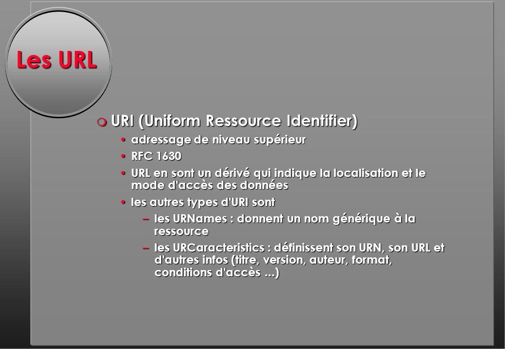 Les URL m URI (Uniform Ressource Identifier) adressage de niveau supérieur adressage de niveau supérieur RFC 1630 RFC 1630 URL en sont un dérivé qui indique la localisation et le mode d accès des données URL en sont un dérivé qui indique la localisation et le mode d accès des données les autres types d URI sont les autres types d URI sont – les URNames : donnent un nom générique à la ressource – les URCaracteristics : définissent son URN, son URL et d autres infos (titre, version, auteur, format, conditions d accès...)