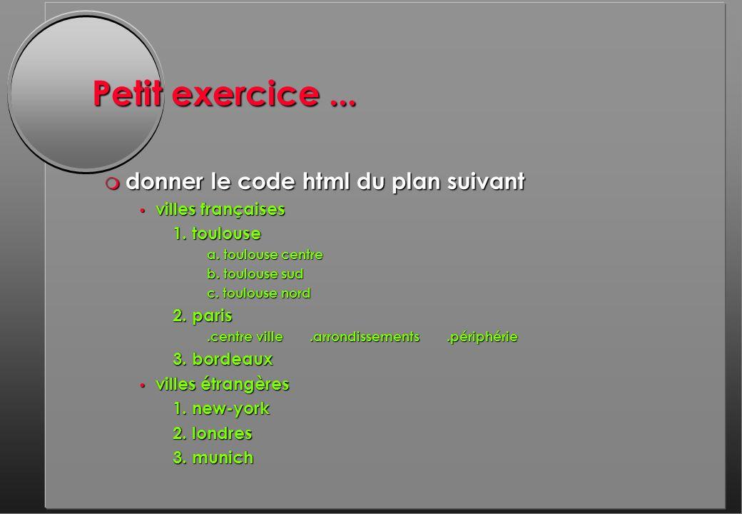 Petit exercice... m donner le code html du plan suivant villes françaises villes françaises 1.