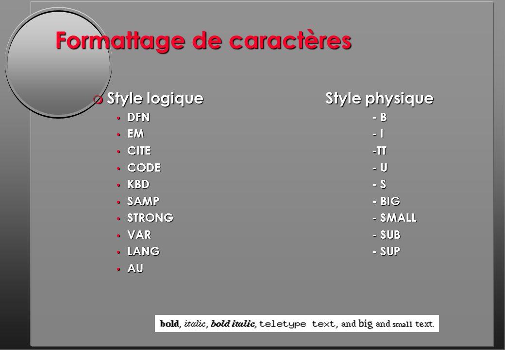 Formattage de caractères m Style logiqueStyle physique DFN - B DFN - B EM- I EM- I CITE-TT CITE-TT CODE- U CODE- U KBD- S KBD- S SAMP- BIG SAMP- BIG STRONG- SMALL STRONG- SMALL VAR- SUB VAR- SUB LANG- SUP LANG- SUP AU AU