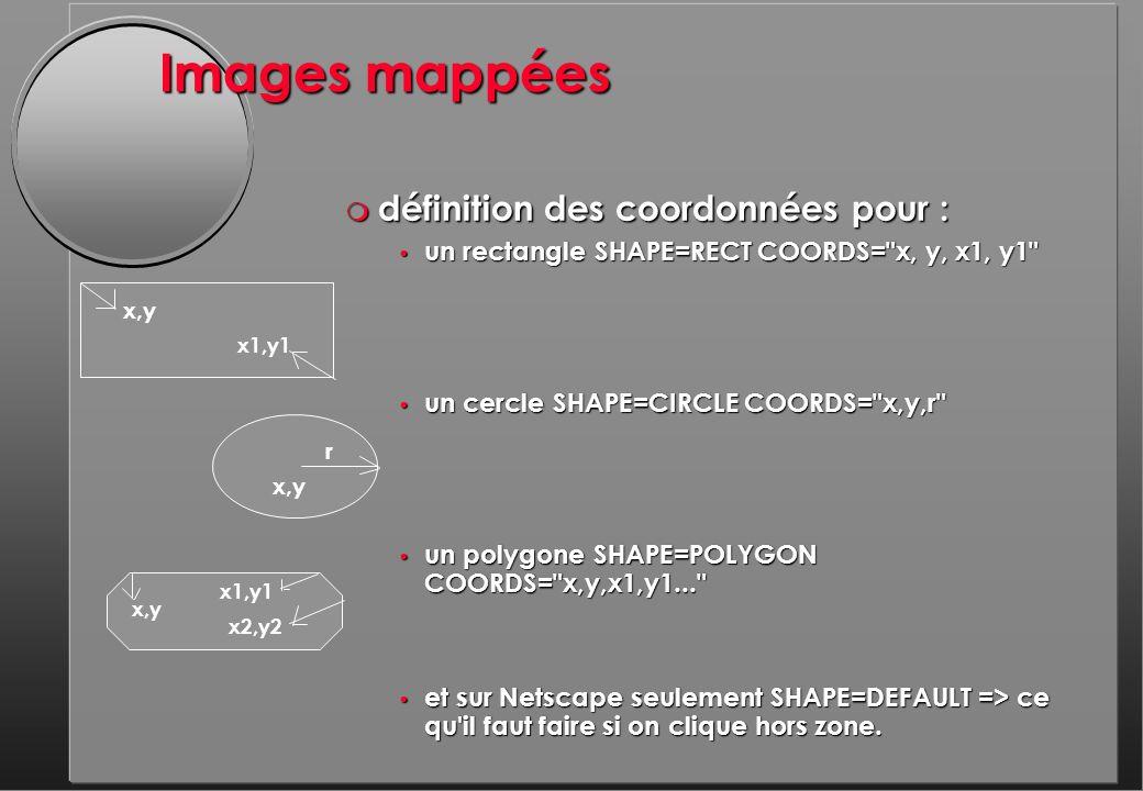 Images mappées m définition des coordonnées pour : un rectangle SHAPE=RECT COORDS= x, y, x1, y1 un rectangle SHAPE=RECT COORDS= x, y, x1, y1 un cercle SHAPE=CIRCLE COORDS= x,y,r un cercle SHAPE=CIRCLE COORDS= x,y,r un polygone SHAPE=POLYGON COORDS= x,y,x1,y1... un polygone SHAPE=POLYGON COORDS= x,y,x1,y1... et sur Netscape seulement SHAPE=DEFAULT => ce qu il faut faire si on clique hors zone.