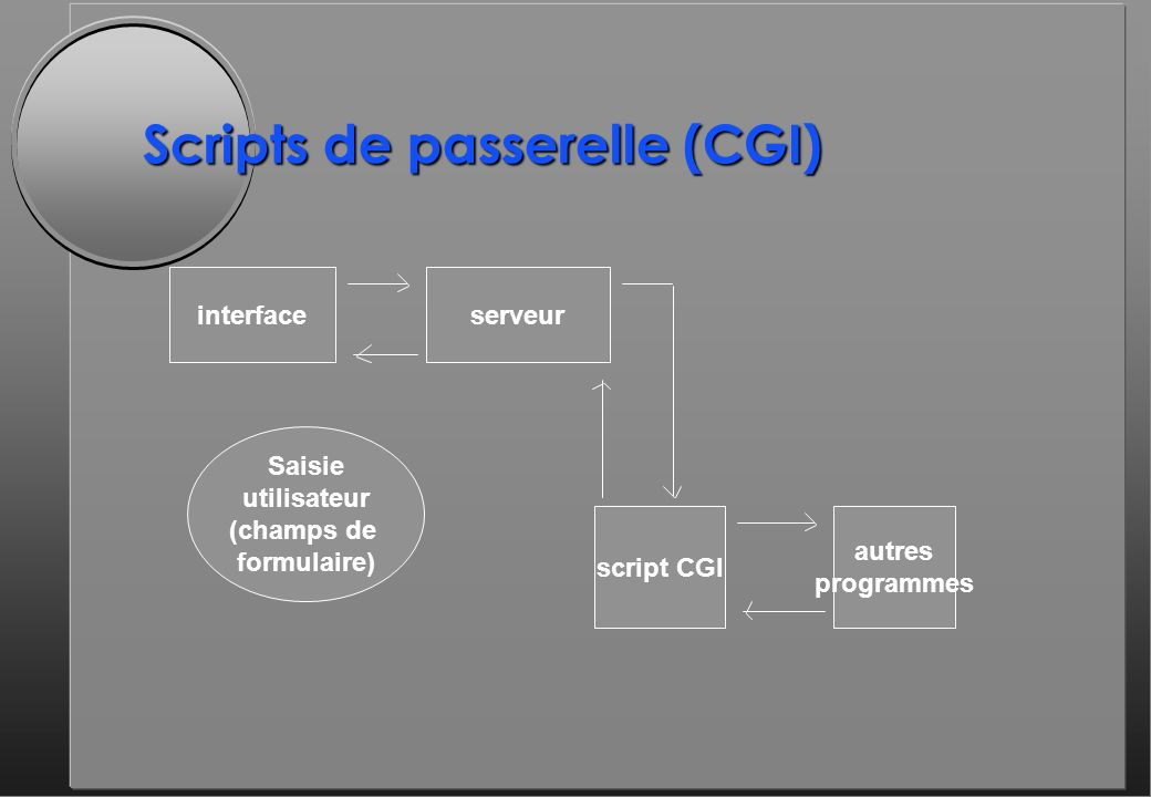 Scripts de passerelle (CGI) interfaceserveur script CGI autres programmes Saisie utilisateur (champs de formulaire)