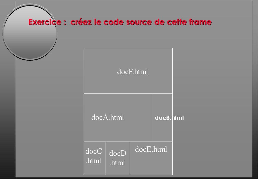 Exercice : créez le code source de cette frame docF.html docD.html docE.html docB.html docA.html docC.html