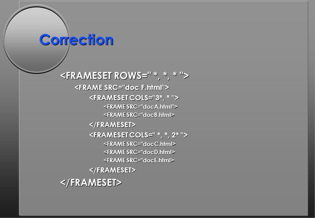 Correction </FRAMESET> </FRAMESET></FRAMESET>
