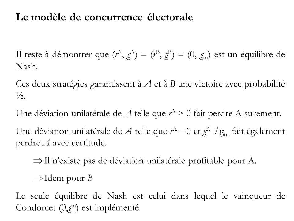Le modèle de concurrence électorale Il reste à démontrer que (r A, g A ) = (r B, g B ) = (0, g m ) est un équilibre de Nash.