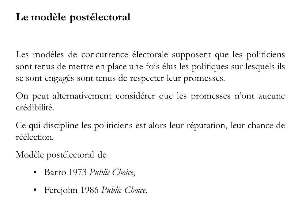 Le modèle postélectoral Les modèles de concurrence électorale supposent que les politiciens sont tenus de mettre en place une fois élus les politiques sur lesquels ils se sont engagés sont tenus de respecter leur promesses.