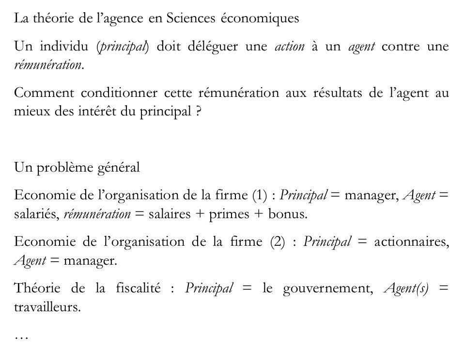 La théorie de lagence en Sciences économiques Un individu (principal) doit déléguer une action à un agent contre une rémunération.