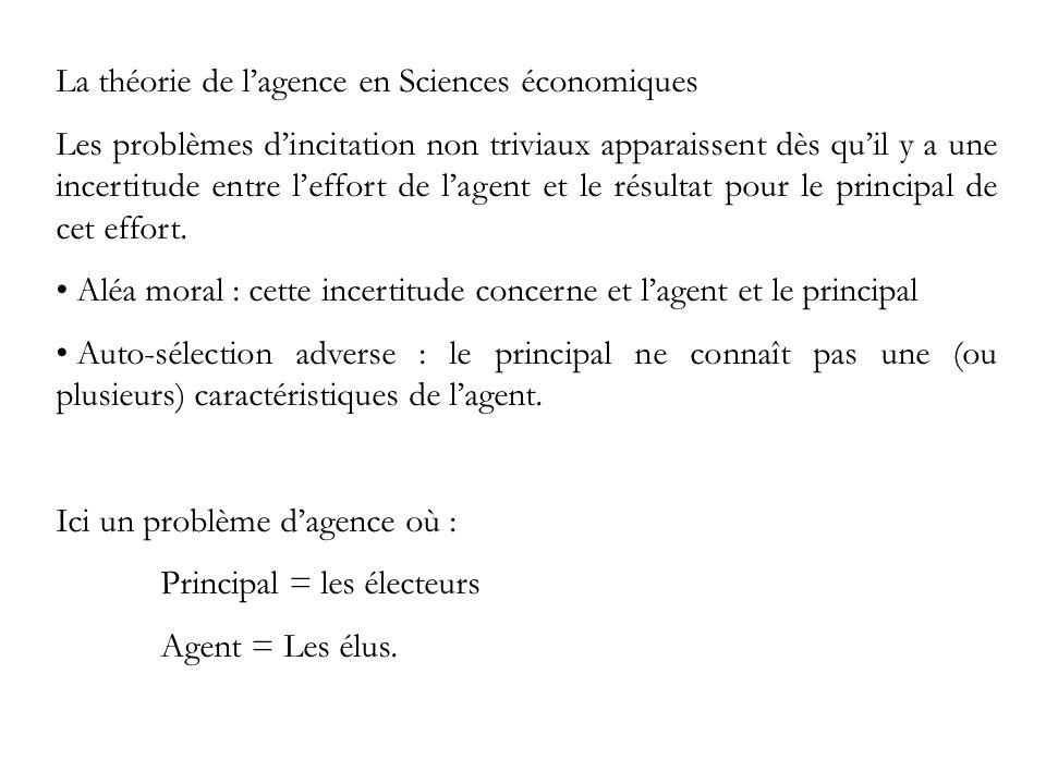 La théorie de lagence en Sciences économiques Les problèmes dincitation non triviaux apparaissent dès quil y a une incertitude entre leffort de lagent et le résultat pour le principal de cet effort.