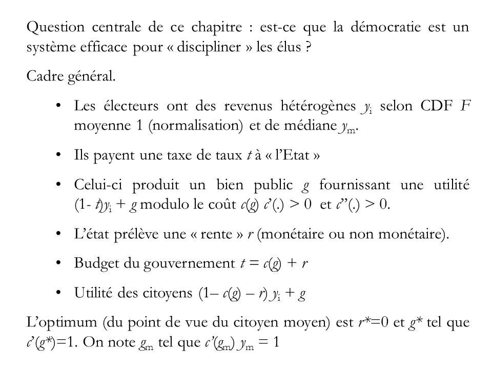 Question centrale de ce chapitre : est-ce que la démocratie est un système efficace pour « discipliner » les élus .