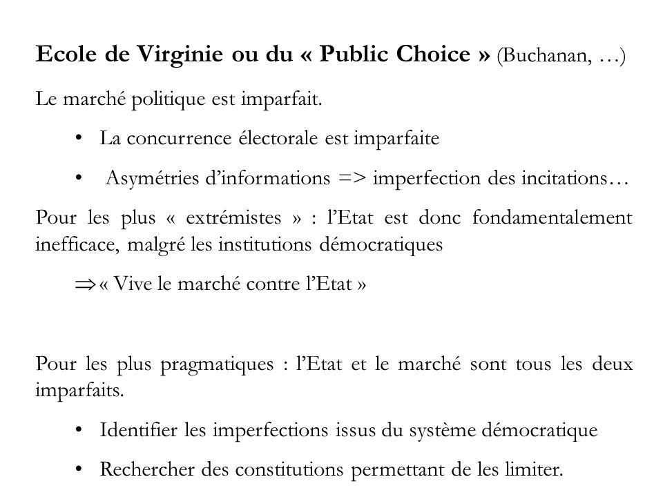 Ecole de Virginie ou du « Public Choice » (Buchanan, …) Le marché politique est imparfait.