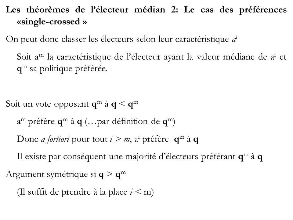 Les théorèmes de lélecteur médian 2: Le cas des préférences «single-crossed » On peut donc classer les électeurs selon leur caractéristique a i Soit a
