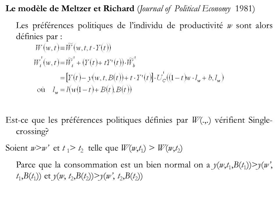 Le modèle de Meltzer et Richard (Journal of Political Economy 1981) Les préférences politiques de lindividu de productivité w sont alors définies par : Est-ce que les préférences politiques définies par W(.,.) vérifient Single- crossing.