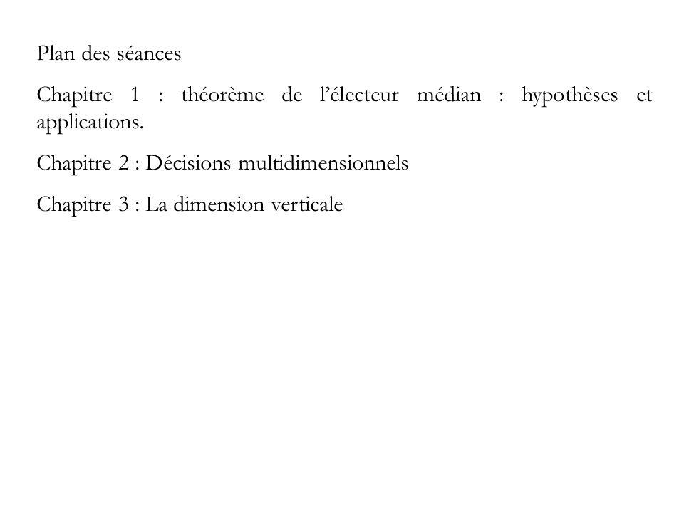 Plan des séances Chapitre 1 : théorème de lélecteur médian : hypothèses et applications. Chapitre 2 : Décisions multidimensionnels Chapitre 3 : La dim