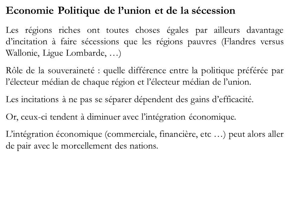 Economie Politique de lunion et de la sécession Les régions riches ont toutes choses égales par ailleurs davantage dincitation à faire sécessions que